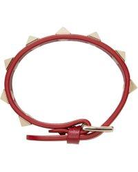 Valentino | Red Leather Rockstud Bracelet | Lyst