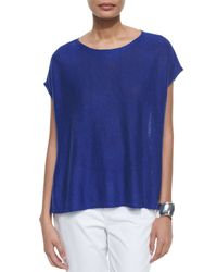 Eileen Fisher | White Short-sleeve Box Linen High-low Top | Lyst