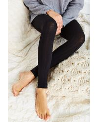 Urban Outfitters Black Fleece Lined Footless Tight