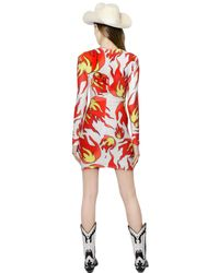 Maria Escoté - Orange Fire Printed Stretch Techno Jersey Dress - Lyst
