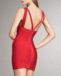 Hervé Léger Red Double-strap Bandage Dress