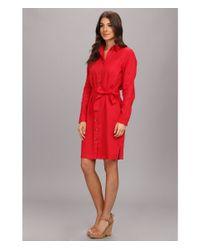 b97291e1008 Lyst - Pendleton Palisades Linen Shirt Dress in Red