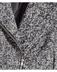 H&M - Gray Biker Coat In A Wool Blend - Lyst