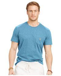 Polo Ralph Lauren - Blue Jersey Pocket Crewneck for Men - Lyst