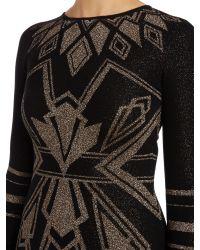Alice By Temperley Black Long Sleeved Ritz Art Deco Knit Dress