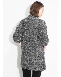 Mango   Gray Open-knit Sweater   Lyst