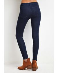 Forever 21 | Blue Distressed Skinny Ankle Jeans | Lyst