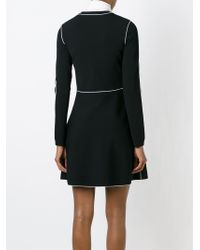 Valentino - Black Contrast Seam Mini Dress - Lyst