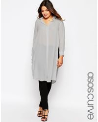 Asos Curve | Gray Long Sleeve Maxi Blouse With High Splits | Lyst