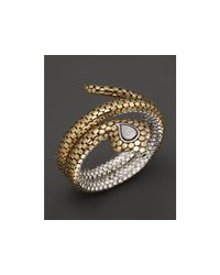 John Hardy - Metallic Sterling Silver And 18k Bonded Gold Dot Cobra Double Coil Bracelet With Pave Diamonds - Lyst
