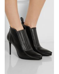 McQ Black Leather Ankle Boots