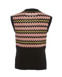 Marni Black Wave Knit Perforated Sleeveless Sweater