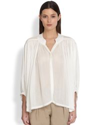 Donna Karan | White Flared Button Front Blouse | Lyst