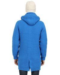 Bark Blue Wool Blend Long Duffle Coat for men