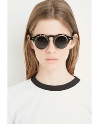 Forever 21 Black Flip-up Round Sunglasses
