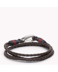 Tommy Hilfiger | Brown Tommy Leather Bracelet for Men | Lyst