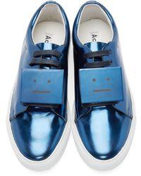 Acne Studios Blue Adriana Metallic-leather Low-top Trainers