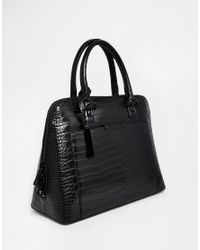 ALDO - Black Structured Dome Tote With Front Pocket Detail - Lyst