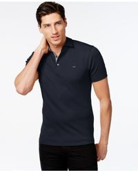 Michael Kors | Blue Woven Gingham-trim Polo for Men | Lyst