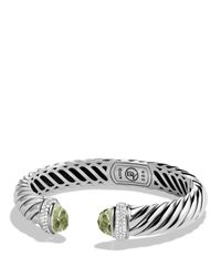 David Yurman | Metallic Waverly Cable Bracelet With Prasiolite & Diamonds | Lyst