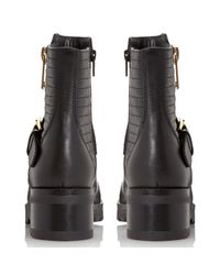 Dune Black Poloma Shark Sole Quilted Biker Boot