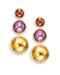 Marco Bicego - Multicolor Pink Tourmaline, Amethyst, Citrine & 18K Yellow Gold Earrings - Lyst