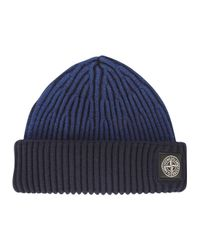 Stone Island Blue Ribbed Wool Beanie for men