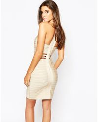 Wow Couture | Red Cut Out Bandage Dress With Plait Front Detail | Lyst