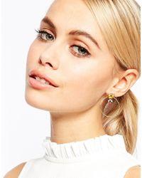 Les Nereides - Metallic Pansy Hoop Earrings - Lyst