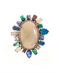 NSR Nina Runsdorf | Blue Diamond, Opal, Emerald & Sapphire Ring | Lyst