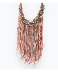 Zara | Pink Fringe, Chains And Feathers Necklace | Lyst
