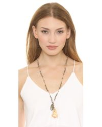 Chan Luu - Metallic Feather Charm Necklace - Pyrite Mix - Lyst