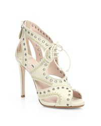 Miu Miu | White Leather Grommet Laceup Sandals | Lyst