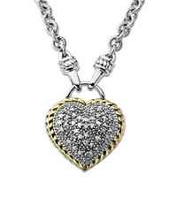 Lord & Taylor | Metallic Diamond Heart Pendant In Sterling Silver With 14 Kt. Yellow Gold 0.25 Ct. T.w. | Lyst