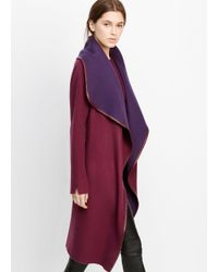 Vince - Purple Drape Front Belted Coat With Leather Trim - Lyst