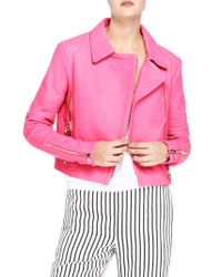J Brand - Pink Aiah Leather Jacket - Lyst