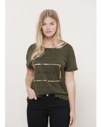 Violeta by Mango | Green Message Cotton T-shirt | Lyst