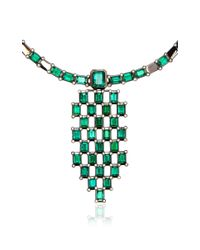 Wilfredo Rosado - Green Black Rhodium And Emerald Necklace - Lyst
