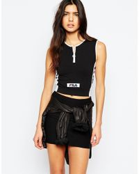 Fila Black Fitted Crop Top With Zip Front Detail