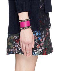 Valentino - Pink 'rockstud' Colourblock Leather Bracelet - Lyst