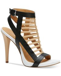 Calvin Klein | Natural Women's Nalo Caged Ankle-strap Sandals | Lyst