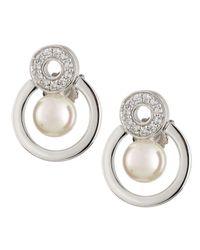 Majorica | Metallic Open Circle Cz & Pearly Earrings | Lyst