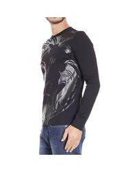 Versus | Black T-shirt Long Sleeve Crewneck With Print Lion for Men | Lyst