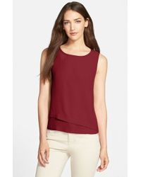 Eileen Fisher | Red Bateau Neck Silk Crepe Shell | Lyst
