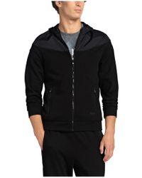 BOSS Green - Black Hooded Sweatshirt Jacket: 'sivon' In Cotton Blend for Men - Lyst
