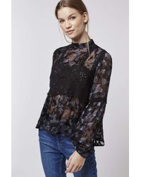 TOPSHOP | Blue Burnout Lace Blouse | Lyst