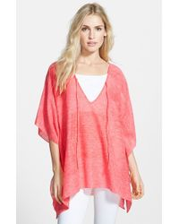Echo - Pink Heathered Poncho - Coral - Lyst