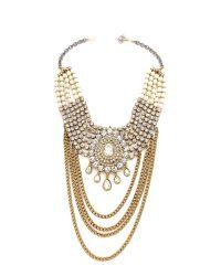 Laura Cantu - Metallic Large Drop Rhinestone Necklace - Clear/Brass - Lyst