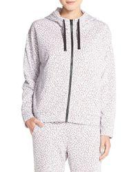 DKNY | Gray Animal Print Zip Hoodie | Lyst