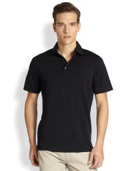 Saks Fifth Avenue | Black Oxford Polo for Men | Lyst